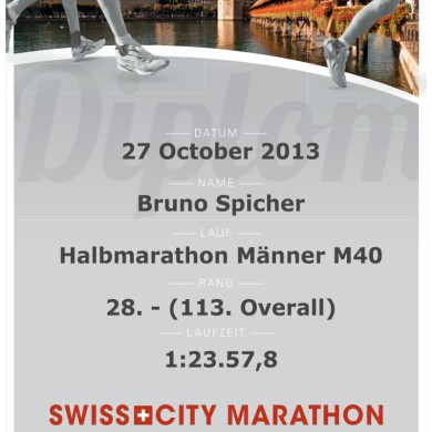 SwissCity Marathon Lucerne vom 27.10.2013 - Urkunde