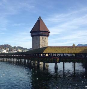 SwissCity Marathon Lucerne vom 27.10.2013 - Kappelbrücke in Luzern