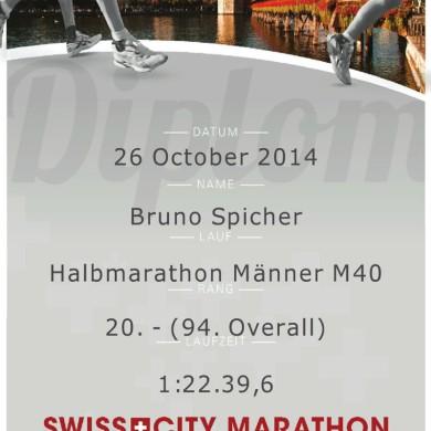 SwissCity Marathon Lucerne vom 26.10.2014 - Urkunde