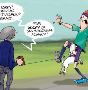 Humor zum Sonntag: Oh sorry! Wir sind ein kompletter veganer Haushalt... für Rocky ist es manchmal schwer!