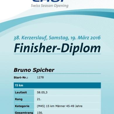 38. Kerzerslauf vom 19.3.2016 - Finisher-Diplom