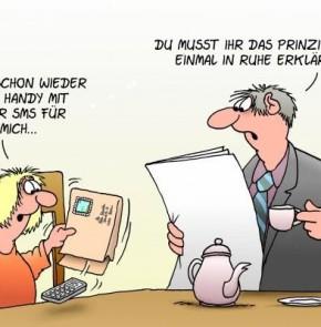 Humor zum Sonntag: Ooh - schon wieder Omas Handy mit einer SMS für mich...; Du musst Ihr das Prinzip noch einmal in Ruhe erklären!