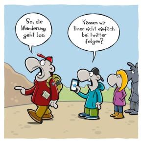 Humor zum Sonntag: So, die Wanderung geht los. Können wir Ihnen nicht einfach auf Twitter folgen?