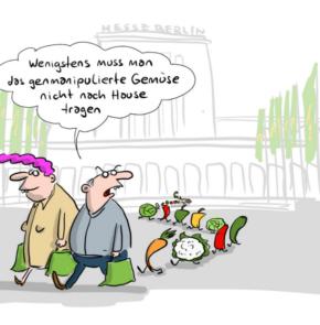 Humor zum Sonntag: Wenigstens muss man das genmanipulierte Gemüse nicht mehr nach Hause tragen.
