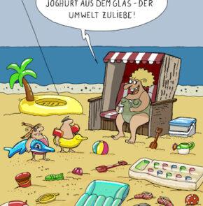 Humor zum Sonntag: Schaut mal, Kinder! Joghurt aus dem Glas - Der Umwelt zuliebe!