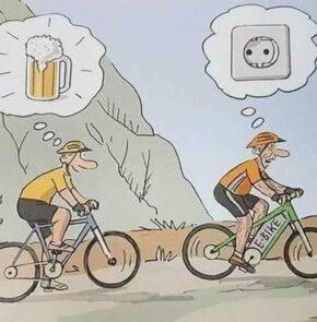 Humor zum Sonntag: E-Bike vs. Rennvelo