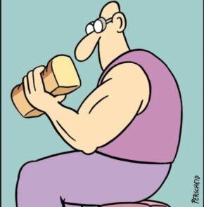 Humor zum Sonntag: Jürgen hatte seinen enormen Bizeps der Verwendung von Fitnessbrot zu verdanken.